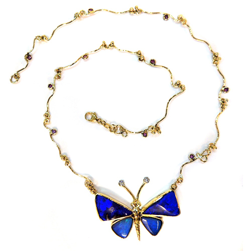 Black Opal butterfly necklace