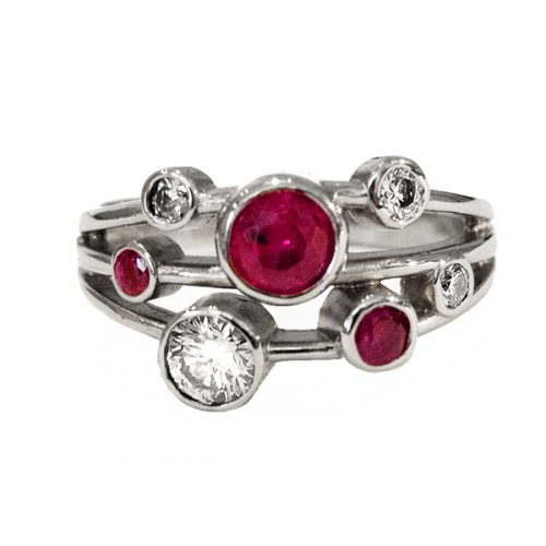 18ct White Gold Ring with Rubies and Diamonds