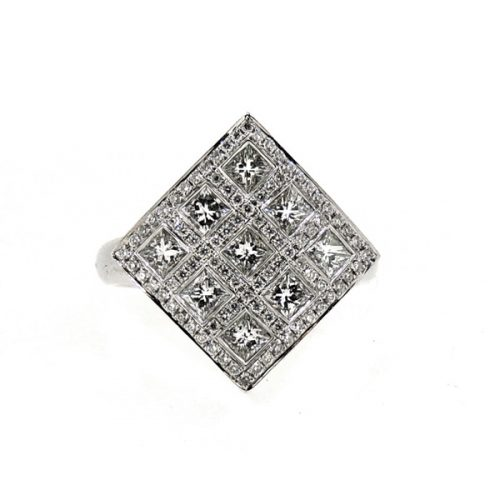 18ct diamond square ring