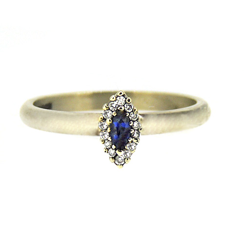 9ct Sapphire and diamond white gold