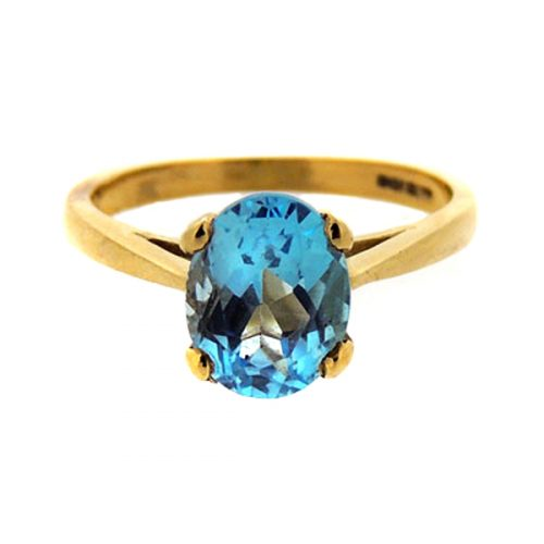 Blue topaz ring 9ct gold