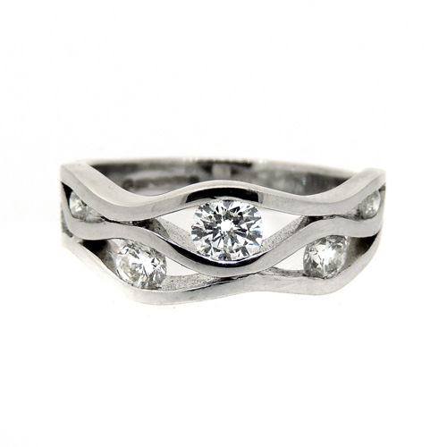 Diamond and 18ct white gold wave ring