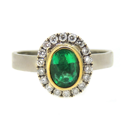 18 carat gold ring with Emerald & diamond ring