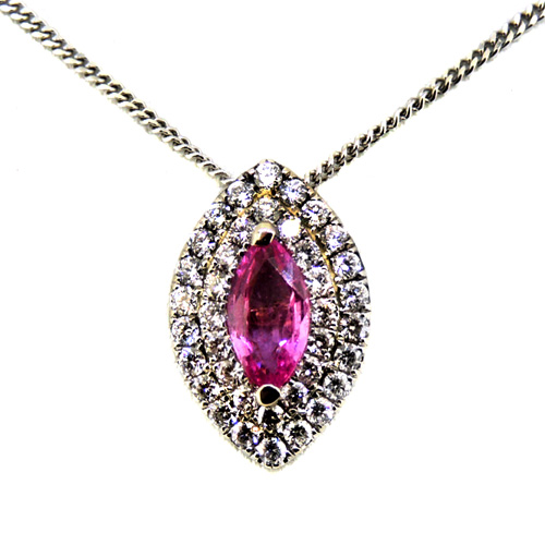 18ct White Gold Necklace with Pink Sapphire pendant