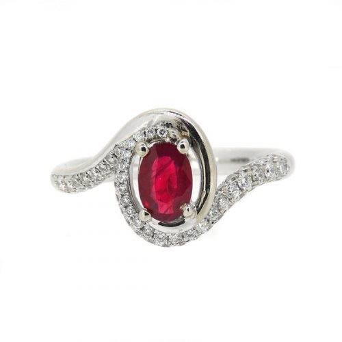Ruby and Diamond 18 ct White Gold Ring
