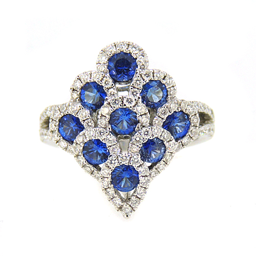 Sapphire and Diamond Peacock Ring