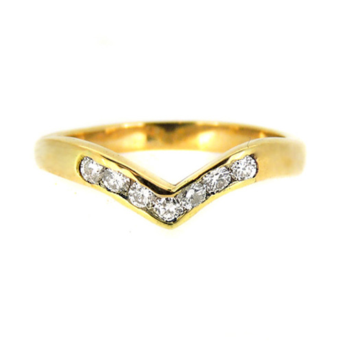 Shaped 9ct Yellow Gold Wedding Ring with Diamonds