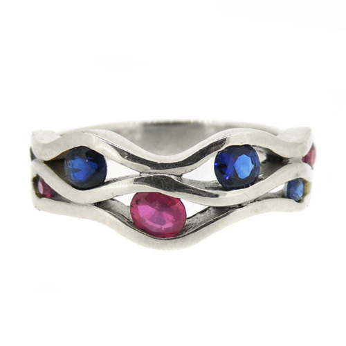 Wave ring with Sapphires and Rubies